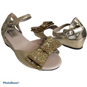 TRISH SCULLY Glitter Bow Wedge Sandal